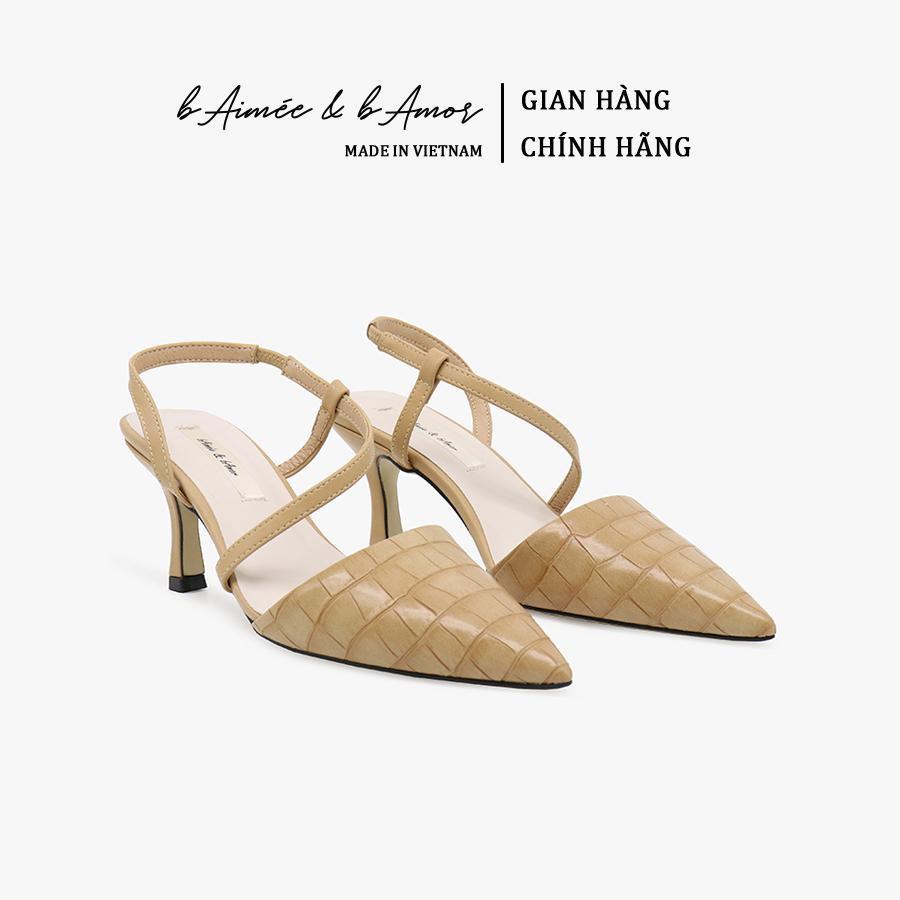 Giày Sandal Cao Gót bAimée & bAmor Slingback Vintage Quai Hậu Mũi Nhọn Bit Mũi Gót Nhọn P.C Hàn Quốc Đẹp Cao Cấp MS1542
