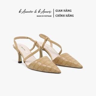 Giày Cao Gót Nữ bAimée & bAmor Slingback Vintage Quai Hậu Mũi Nhọn Bit Mũi Gót Nhọn  Hàn Quốc Đẹp Cao Cấp MS1542