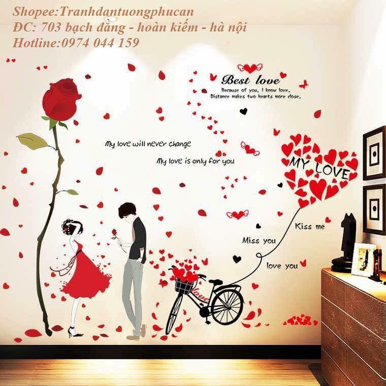 Decal dán tường bộ kết hợp cặp đôi và xe đạp tình yêu. - 2998459 , 421865872 , 322_421865872 , 65000 , Decal-dan-tuong-bo-ket-hop-cap-doi-va-xe-dap-tinh-yeu.-322_421865872 , shopee.vn , Decal dán tường bộ kết hợp cặp đôi và xe đạp tình yêu.