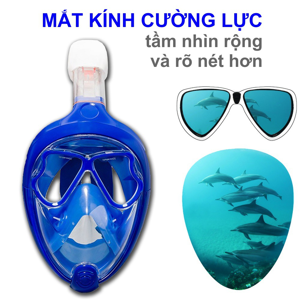 Mặt nạ lặn Full Face Size M cho trẻ em từ 10 đến 16 tuổi mắt KÍNH CƯỜNG LỰC, kèm ống thở ngăn nước -