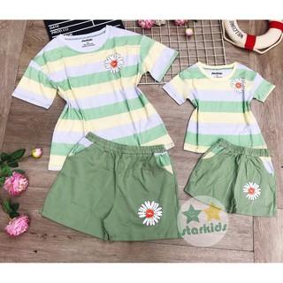 Size chính hãng STARKID 10-45kg bộ cho mẹ và bé gái bé trai hottrend hoa cúc mix chất 100% cottton chính phẩm