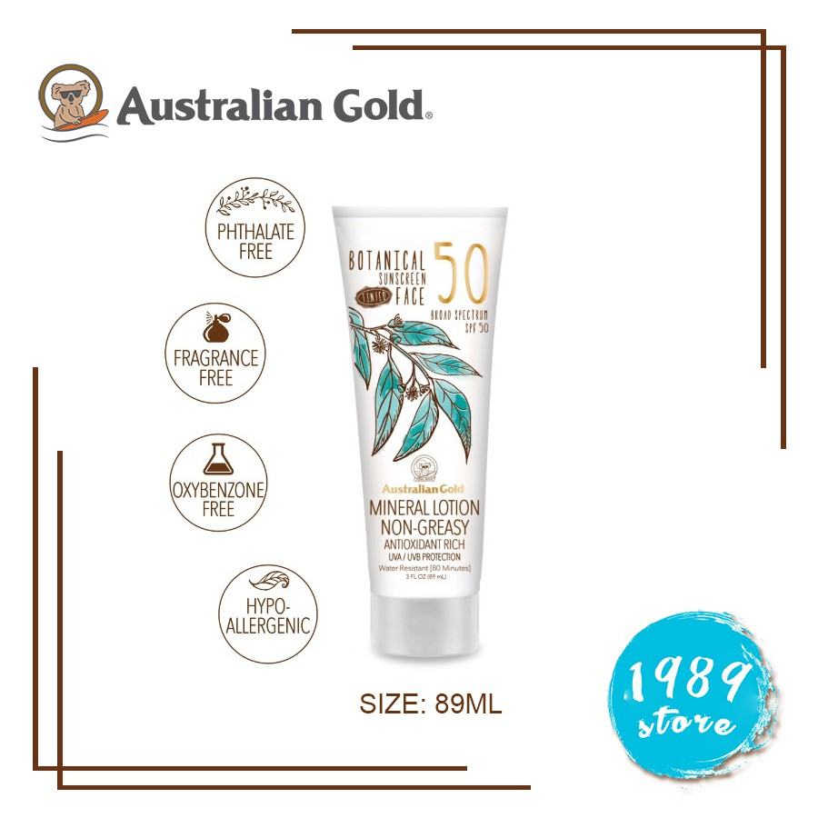 US - Kem Chống Nắng Botanical SPF 50 Tinted Face Sunscreen Lotion Australian Gold 89ML