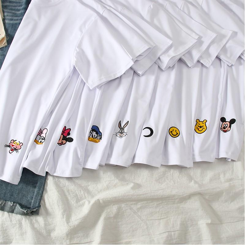 (Clip thật-Cotton mát)Áo thun trơn Mickey, áo phông ngắn tay thêu họa tiết DISNEY