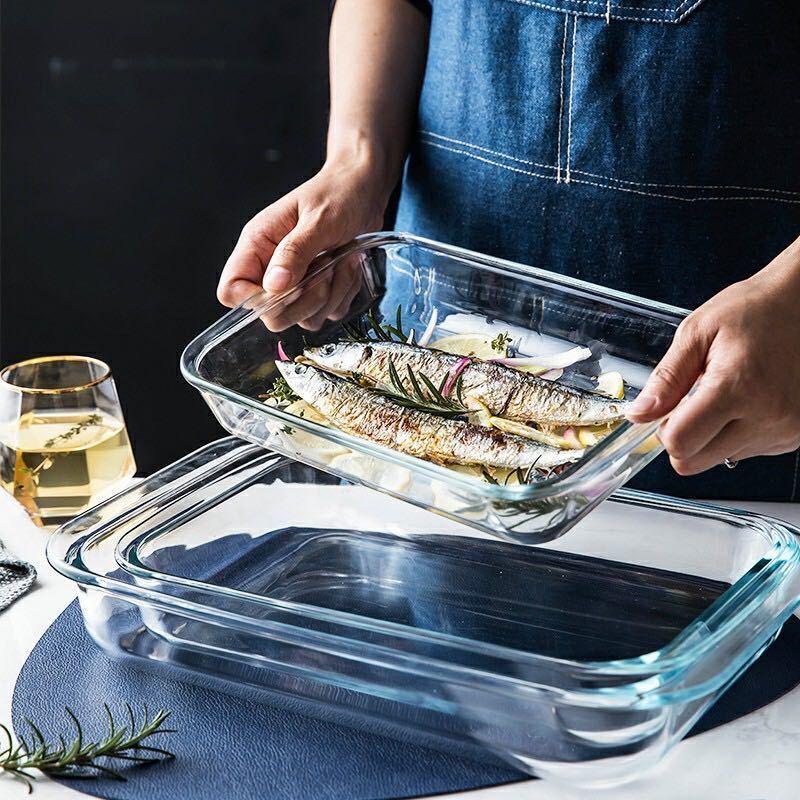 Khay nướng kính cường lực, khay chữ nhật, khay nướng cá, đĩa chịu nhiệt gia đình, lò vi sóng, khay nướng thịt nướng, [ph