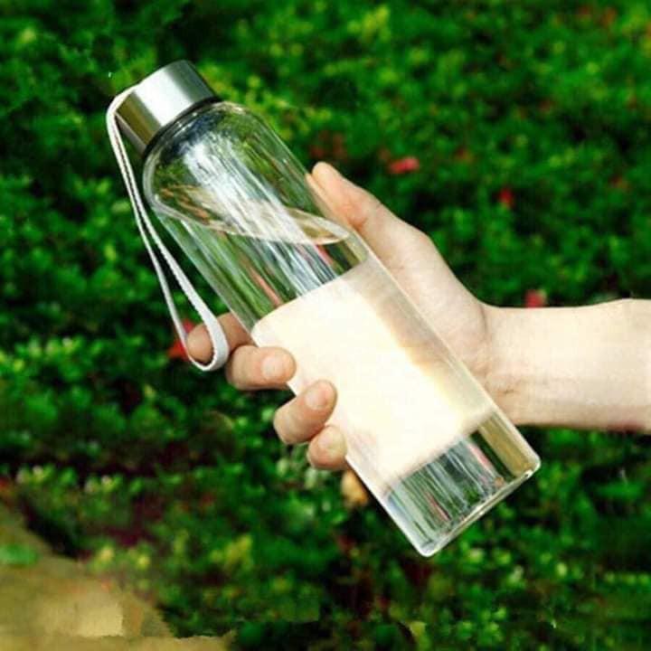 Bình nước thủy tinh 𝑭𝑹𝑬𝑬𝑺𝑯𝑰𝑷 Bình thủy tinh 500ml - Chai thủy tinh có dây xách