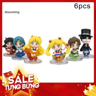 6Pcs/Set Anime Sailor Moon Tsukino Usagi Action Figures PVC Model Toy Car Decor – Hàng nhập khẩu