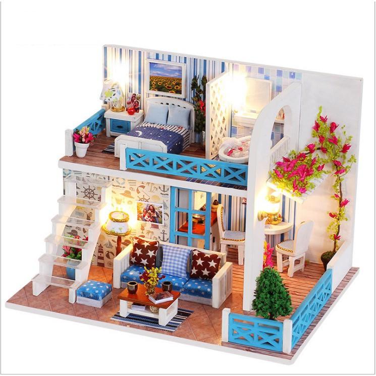 Mô hình nhà gỗ DIY Biệt thự thành phố 6 (đã bao gồm mica che bụi)