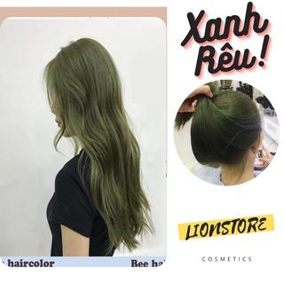 Thuốc nhuộm tóc màu xanh rêu LION kem nhuộm tóc tại nhà nam nữ tặng oxy găng tay