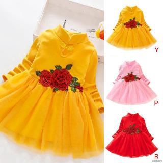 Đầm xoè công chúa tay dài hoạ tiết hoa thêu cho bé gái