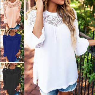 902c51ef12a3 For Women Girls Summer wear Lace Stitching thin Long Ruffle Sleeve Round  Collar Solid Color Loose Chiffon Shirt Blouse - For Women Girls Summer wear  Lace ...
