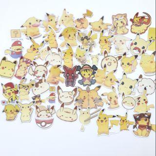 Sticker nhám cán mờ Pikachu dán trang trí planer, scapbook, điện thoại, laptop,..