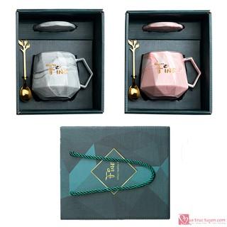 [Mã LIFEHOT1505 giảm 10% đơn 99K] Bộ tách trà cà phê kim cương vân đá - Hộp quà tặng sang trọng