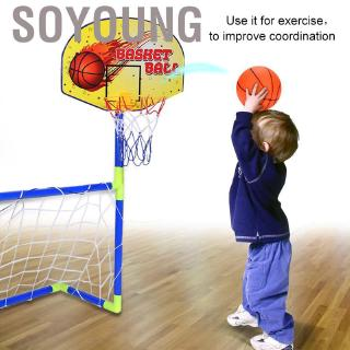Soyoung 2 In 1 Children Portable Football Basketball Set Soccer Goal Hoop Backboard Toy❤