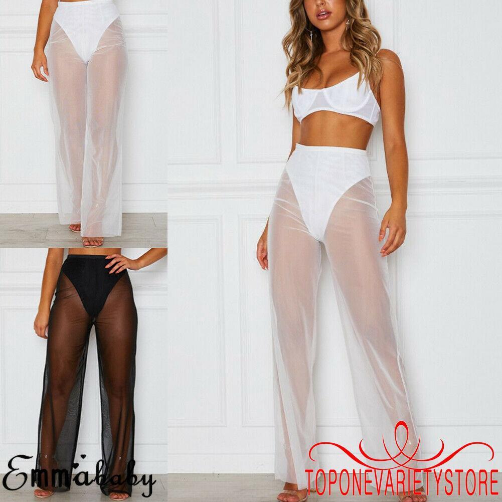 2a688e40a7 ☎POP❤Women´s Summer Beach Mesh Sheer High Waist Pants Bikini Cover Up Loose  Trousers