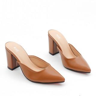 Giày Sục Cao Gót 7cm Đế Vuông Mũi Nhọn Pixie X377