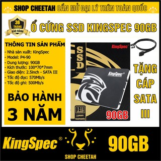 Ổ cứng SSD KingSpec 90GB – CHÍNH HÃNG – Bảo hành 3 năm – Tặng cáp dữ liệu Sata 3.0
