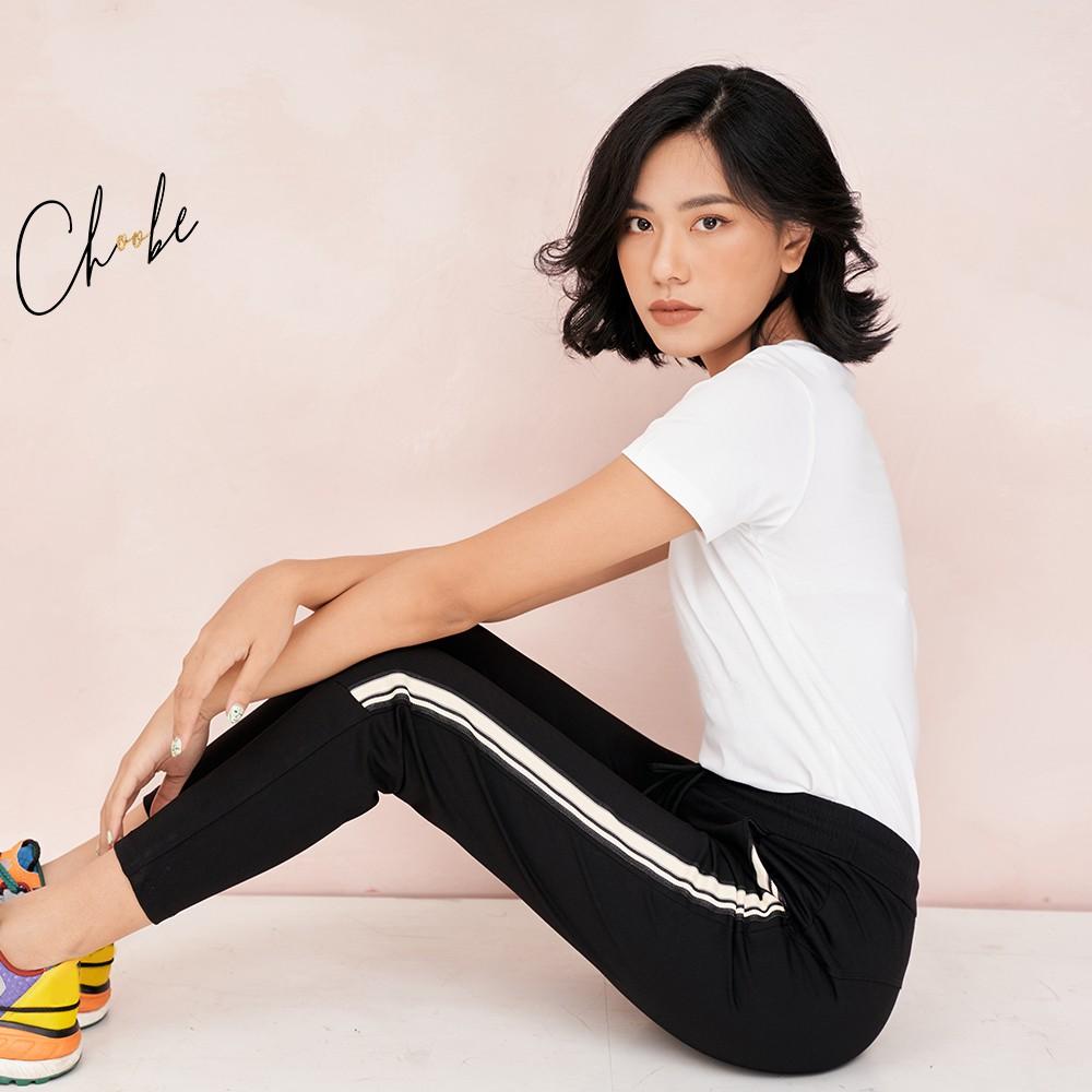 Quần jogger nữ Choobe dáng dài, cạp chun, có dây buộc, kiểu sọc to 2 bên, vải co giãn tốt - Q17