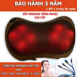 Gối massage hồng ngoại 8 bi mát xa cao cấp Nhật Bản