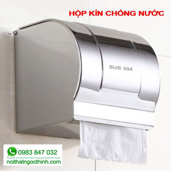 Hộp đựng giấy vệ sinh Inox 304 loại kín che chắn nước cao cấp