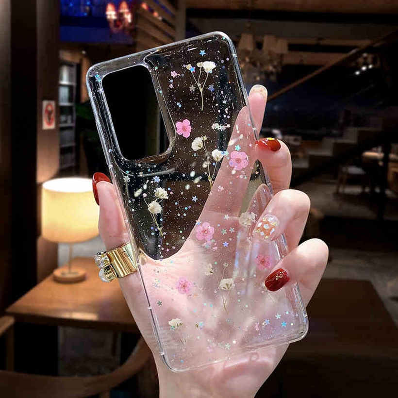Casing Xiaomi Redmi Note 9 9s 9 8 7 Pro Redmi 8A 8 K30 K20 Pro Real Dried Flowers Luxury Soft Clear Floral Star Glitter Handmade Cover Case