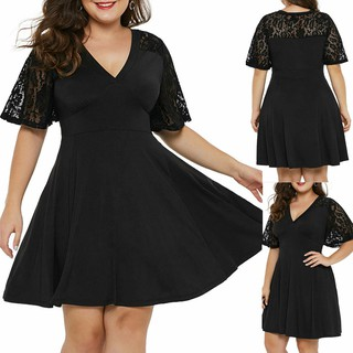 Fashion Women Plus Size Casual Solid V-Neck Short Sleeve Lace A-Line Swing Dress