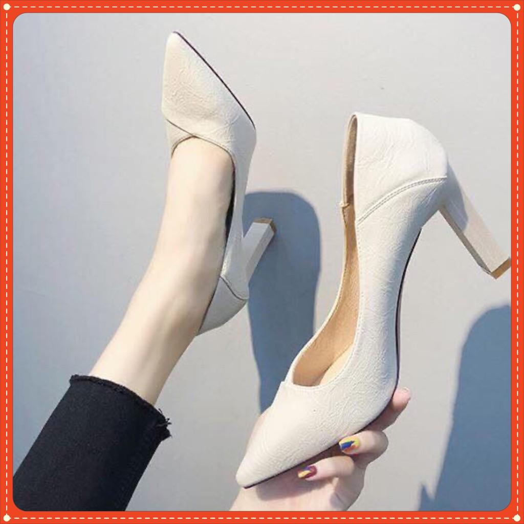 Giày cao gót 7P da nhăn siêu tôn dáng mã C19