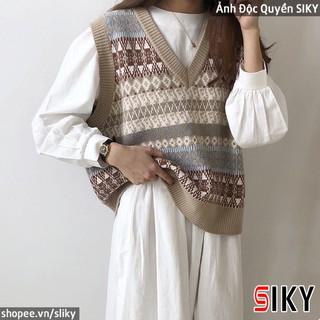 [Mã SKAMPUSH10 giảm 10% đơn 200K] Áo len gile nữ thổ cẩm siêu ấm áp phong cách thời trang thu đông dành cho nữ-AL-07