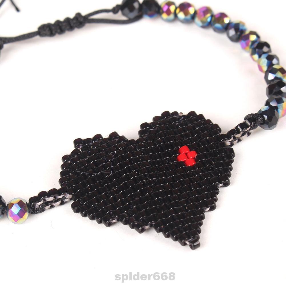 Charm Crystal Delica Beads Gift Handmade Heart Pattern Jewelry Tassel Women Bracelet