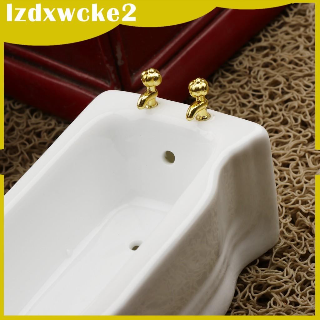 GamZine 1/12 Ceramic White Square Bathroom Bathtub Dolls House Decoration Accessory