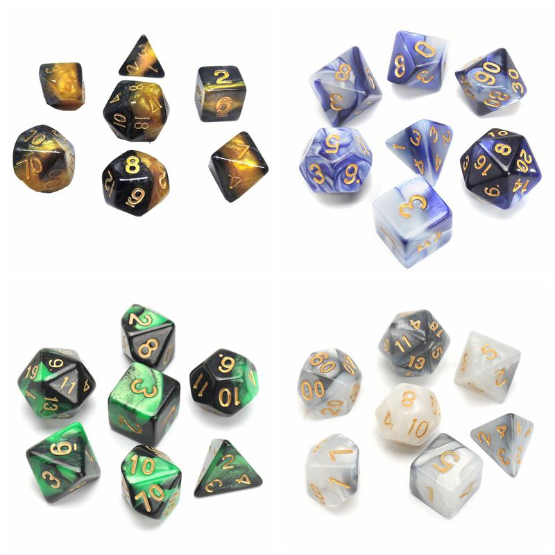 7pcs/set Polyhedral Gemini Dice Nebula Effect Mix Color Set Dungeons