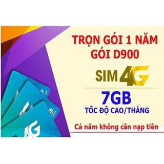 [Mã ELMS5 giảm 7% đơn 300K] Sim 4G Viettel trọn gói 1 năm D900 7Gb/tháng