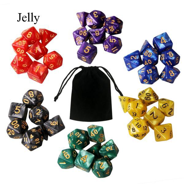 6 Set 42 Acrylic Polyhedral Game Dice 7 D20 Pouches for Party Math Playing J30