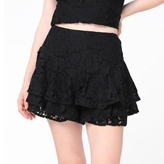 RECHIC Quần Tamy Màu Đen ren giả váy dáng tầng dễ thương xinh xắn thumbnail