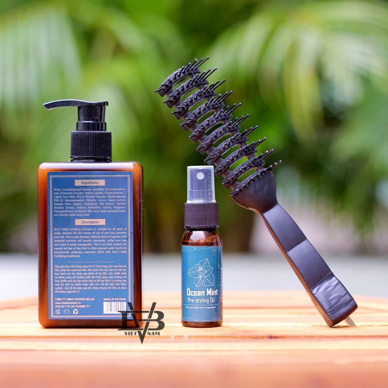 COMBO Dầu gội đầu nam Daily Shampoo M.A.Y +  Dầu xả Daily Conditioner MAY – Loại 300ml   Tặng lược + Pre Styling 30ml