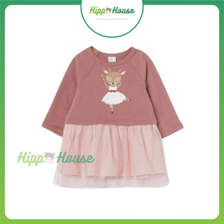 Váy Nỉ Da Cá HM Bé Gái Size 80 -130cm Hoạ Tiết Múa Ba Lê Chân Ren Hippo House