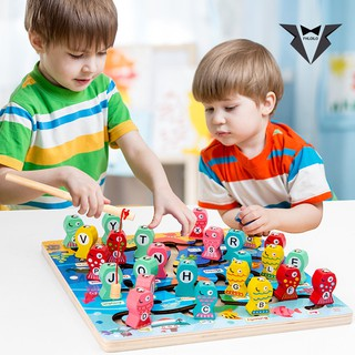 Fhloilo 1 Set Alphabet Board Wooden Fishing Game Toy for Toddlers