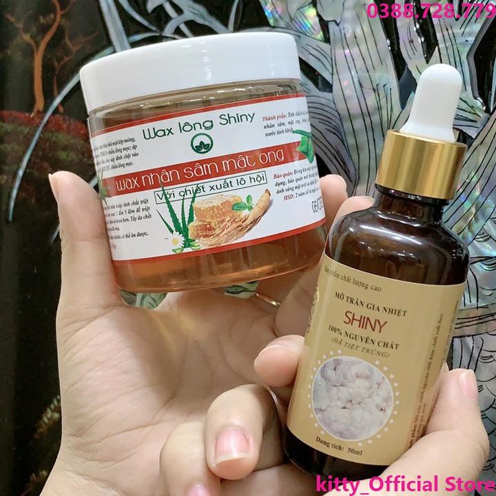 Combo Wax lông Shiny tẩy lông siêu sạch hanmade + mỡ trăn shiny hanmade (tặng kèm bộ dụng cụ wax)