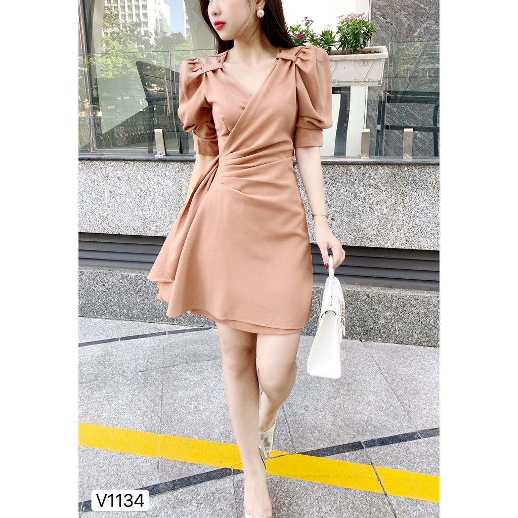 Váy be cổ V bèo eo V1134 - Đẹp Shop DVC - Kèm ảnh thật trải sàn do shop tự chụp