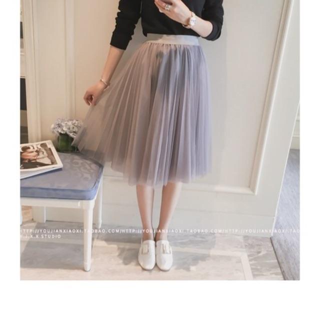 Chân váy lưới xoè công chúa - màu đen