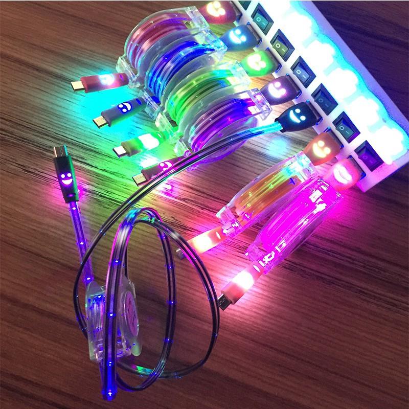 Dây cáp sạc nhanh USB có đèn LED họa tiết mặt cười dành cho iPhone chiều dài 25cm