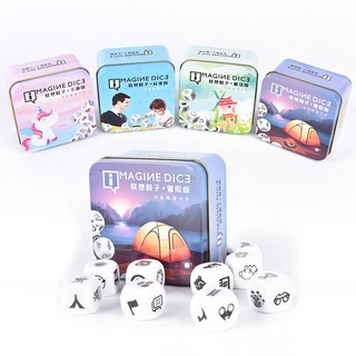 JTVN Story Dice Game Look Picture Telling Story With Metal Box For Family Fun spur