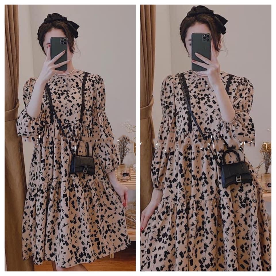 Mặc gì đẹp: Dễ chịu với Váy bầu thời trang thiết kế M292 chất lụa hàn freesize từ 45 đến 70kg