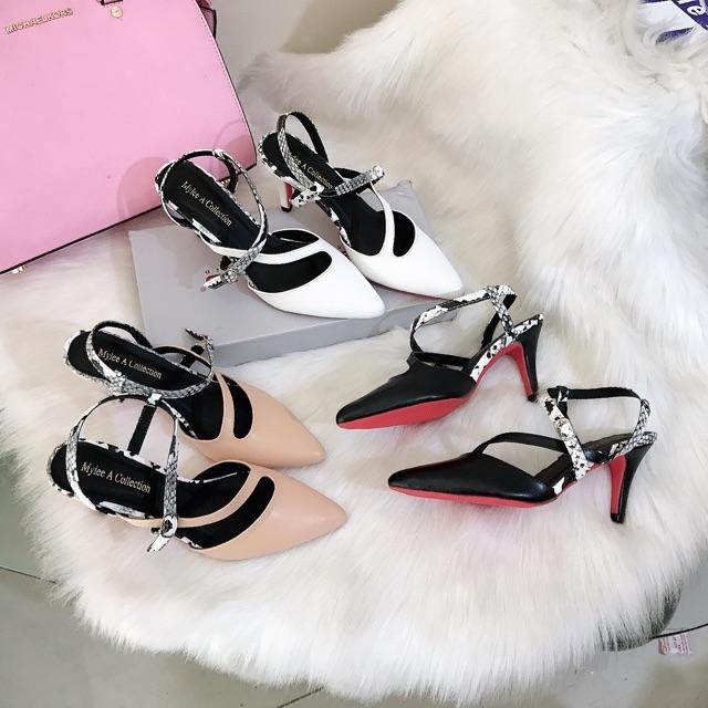 Giày cao gót bít [THU HỒI VỐN] hở gót, da lì cực êm form ôm chân cao 7cm