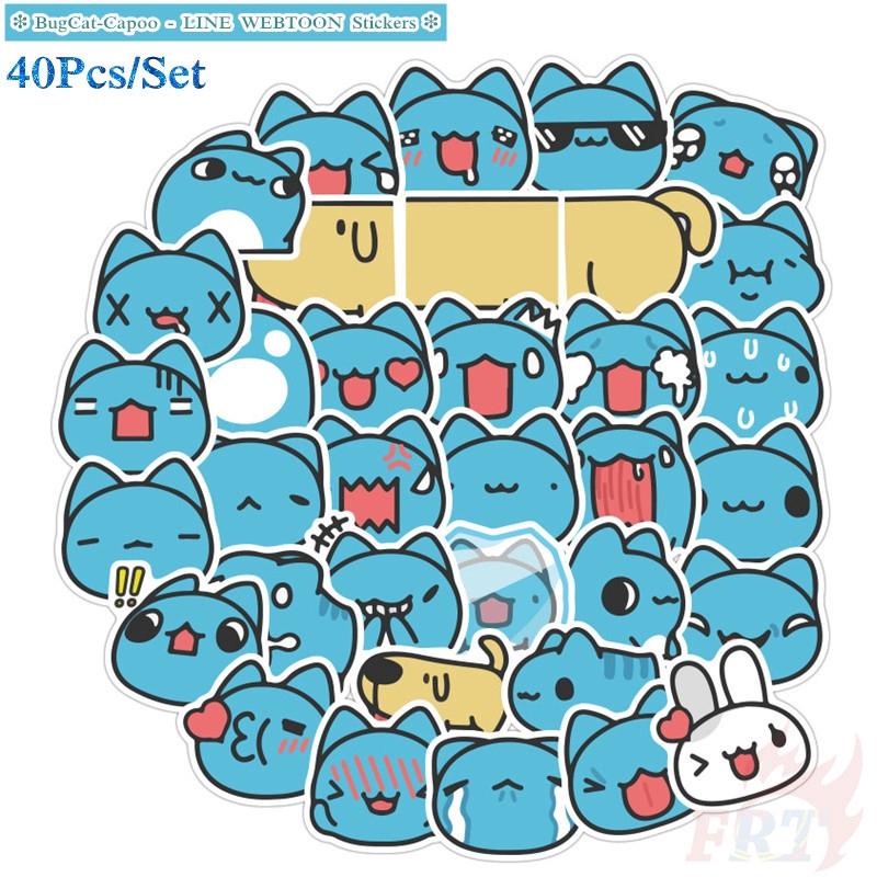 Bộ 40 miếng sticker in họa tiết mèo Capoo dùng cho tự trang trí