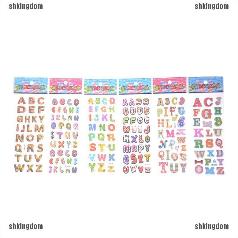 shking☀6 Sheets Letters Scrapbooking Bubble Stickers 3D Cartoon Stationery Stickers