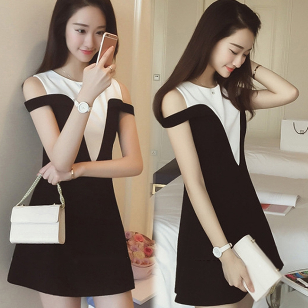 Party Fashion Cold Shoulder Korean Style Round Neck Patchwork Casual Slim Fit Hit Color Women Dress