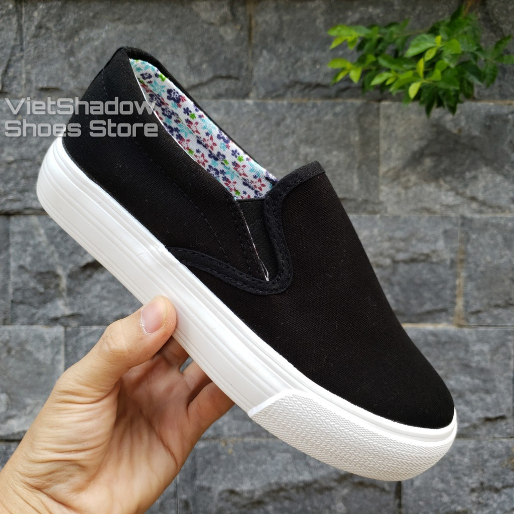 Slip on vải nữ - Giày lười vải nữ độn đế - Vải thô 2 màu (trắng) và (đen) đế trắng - Mã SP: H802
