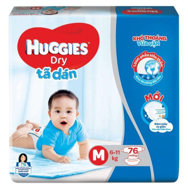Tã Dán/Tã quần Huggies Dry Pants M76,L68,XL62,XXL56 (Mẫu đệm mây co giãn)