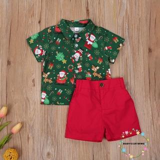 Bộ áo sơ mi tay ngắn + quần short họa tiết ông già noel dành cho bé