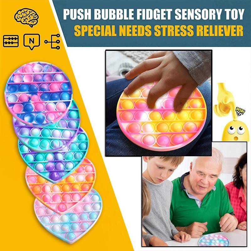 Cung cấp cho trẻ em một món quà thú vị mới màu cà vạt đầy màu sắc đầu ngón tay bóp cảm giác giải nén bong bóng đồ chơi quà tặng Pop It Fidget Toy